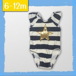 Navy Stripe Swimsuit with Gold Star 6-12m